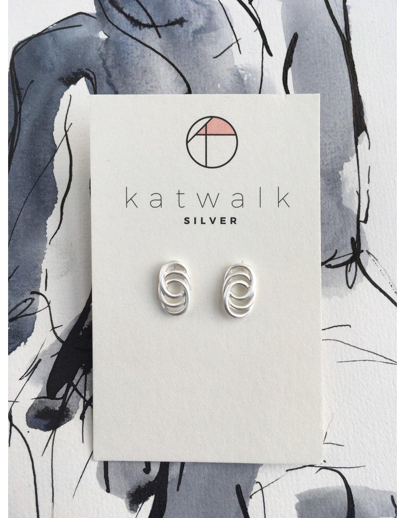 Katwalk Zilver Zilver oorsteker - 3 geschakelde vaste ringen
