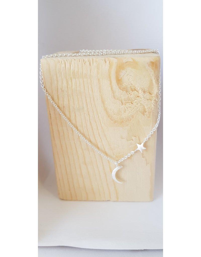 Katwalk Zilver Zilver halsketting met sterretje en maantje
