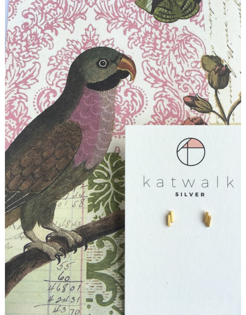 Katwalk Zilver Verguld zilver oorstekers - 2 kleine staafjes mini