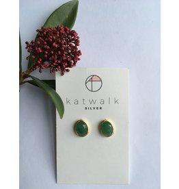 Katwalk Zilver Verguld zilver oorsteker - groene steen