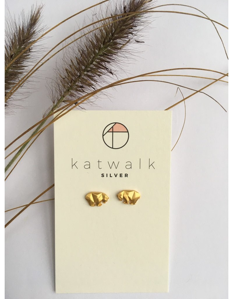 Katwalk Zilver Verguld zilver oorsteker - beer