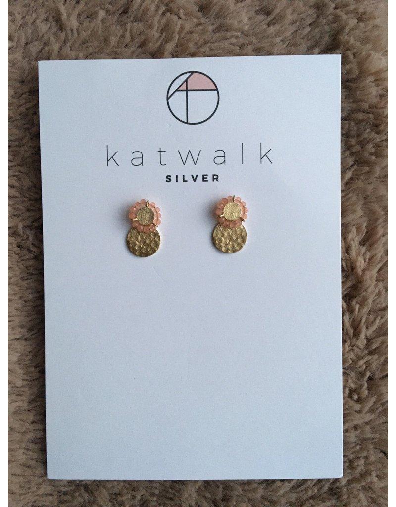 Katwalk Zilver Verguld zilver oorsteker - dubbel plaatje roze kraaltjes