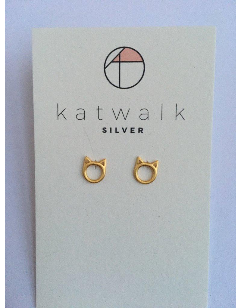 Katwalk Zilver Verguld zilver oorstekers - poezenkop open