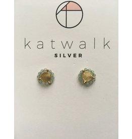 Katwalk Zilver Verguld zilver oorstekers -rozet met mintgroene steentjes
