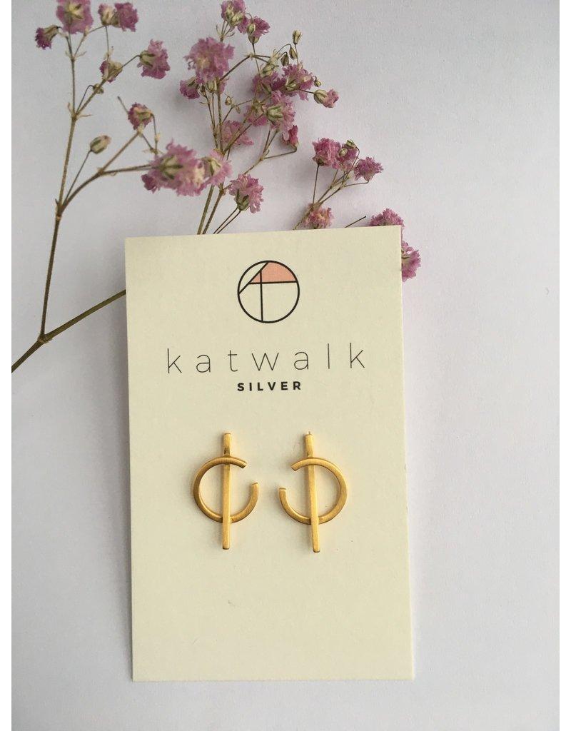 Katwalk Zilver Verguld zilver oorstekers -'C' /