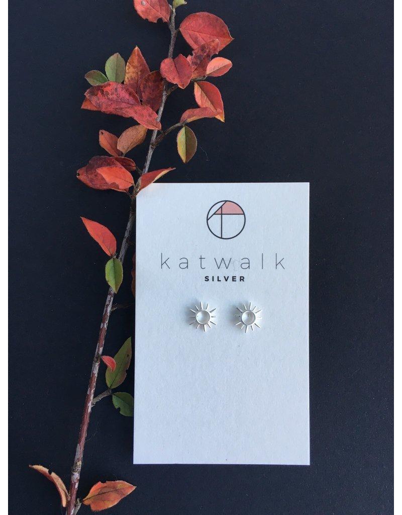 Katwalk Zilver Zilver oorstekers - zonnetje open