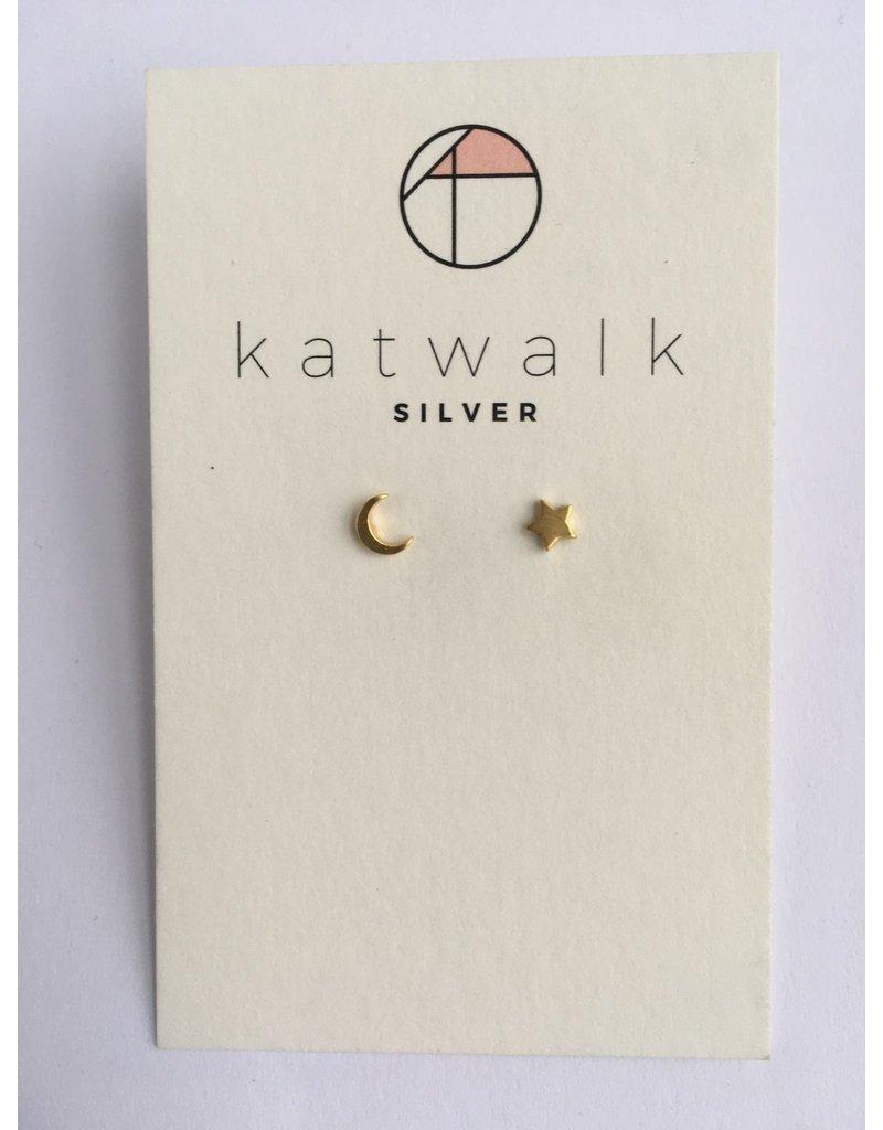 Katwalk Zilver Verguld zilver oorstekers - maantje + sterretje