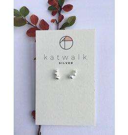 Katwalk Zilver Zilver oorstekers - 3 bolletjes geschakeld