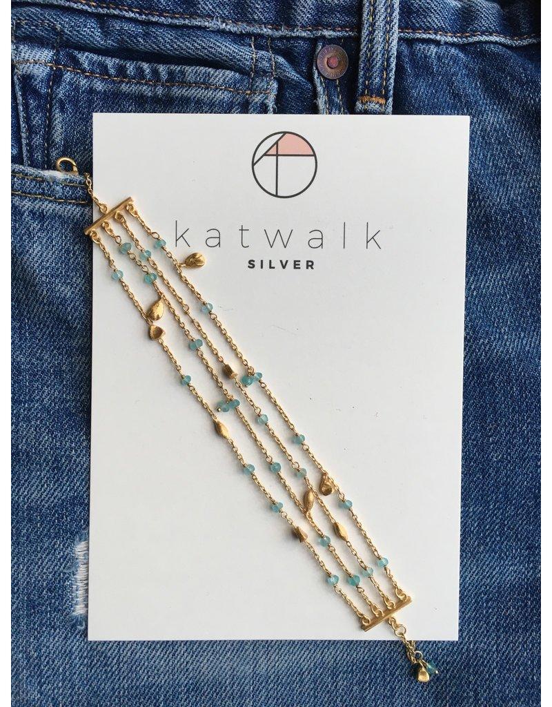 Katwalk Zilver Verguld zilver armband - 4 ketting met mintgroene steentjes