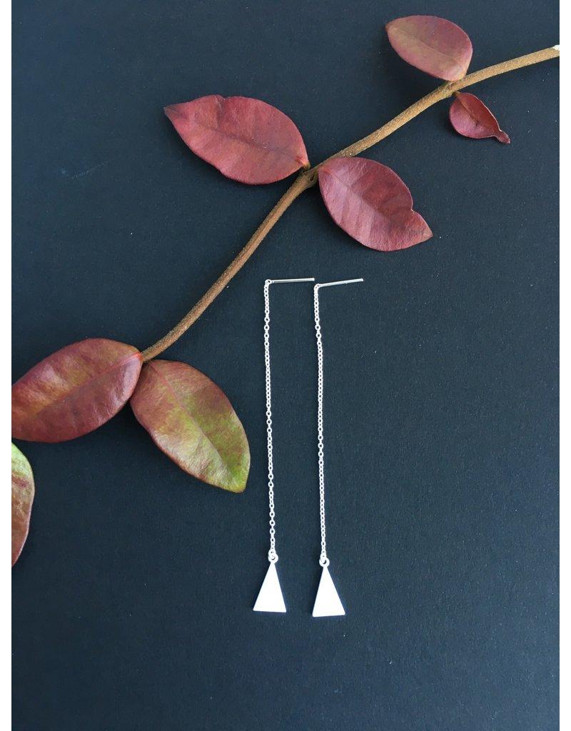 Katwalk Zilver Zilver oorstekers - doorhaal-ketting met driehoek