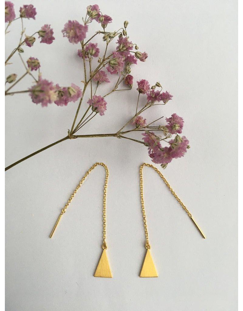 Katwalk Zilver Verguld zilver oorstekers - doorhaal-ketting met driehoek