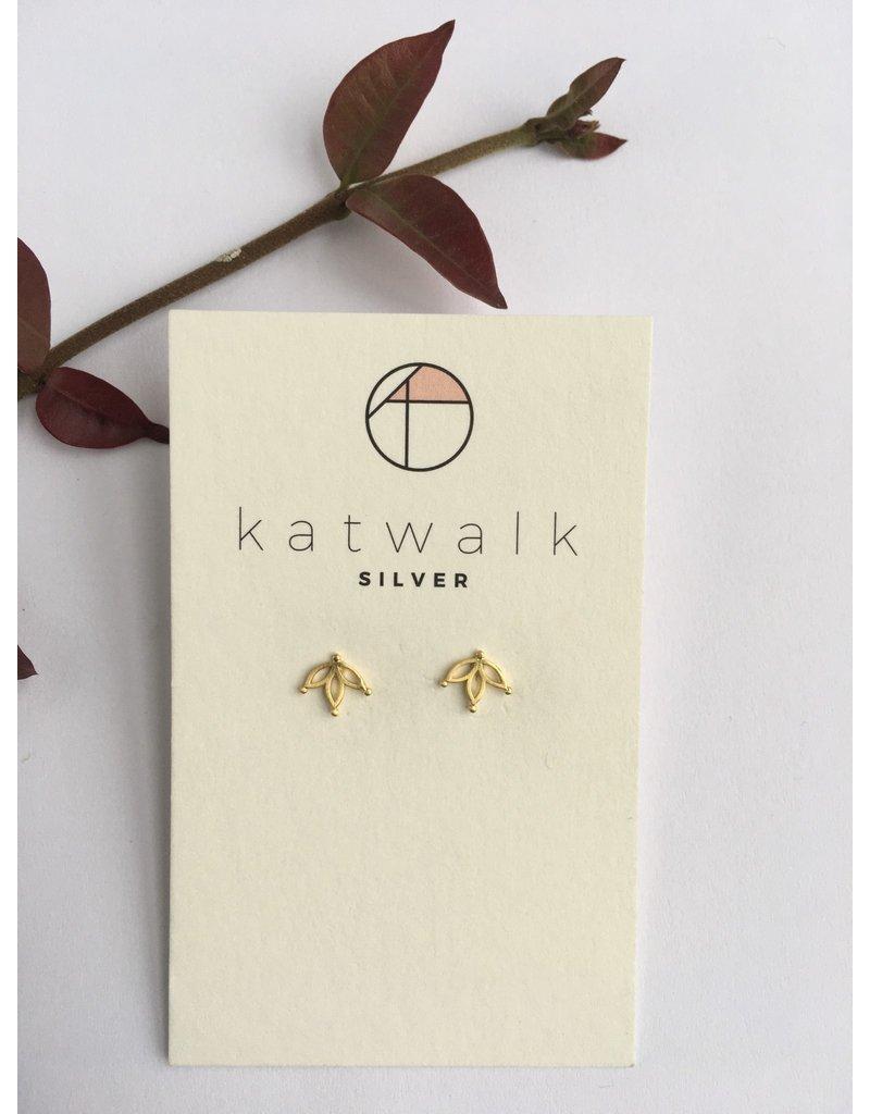 Katwalk Zilver Verguld zilver oorstekers - hangende bloem