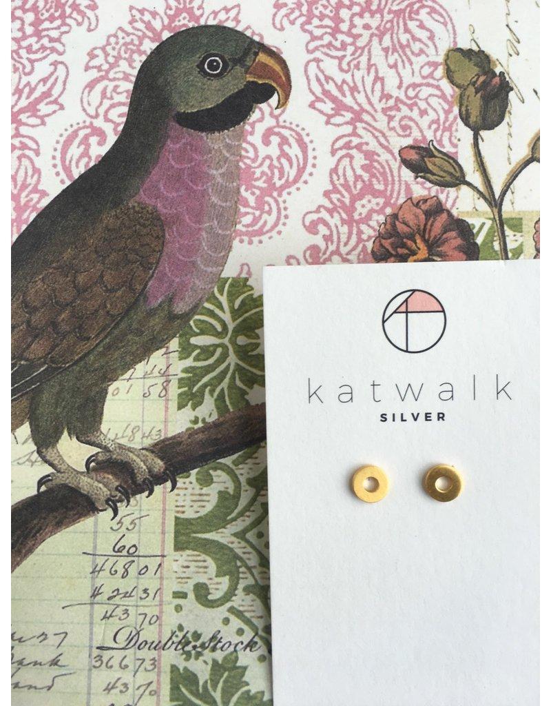 Katwalk Zilver Verguld zilveren oorsteker - Bold 'O'