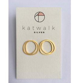 Katwalk Zilver Verguld zilver oorstekers - 2 amorf cirkels