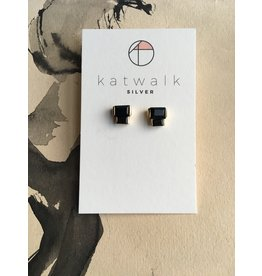Katwalk Zilver Verguld zilver oorsteker - 2 blokjes met donkere steen