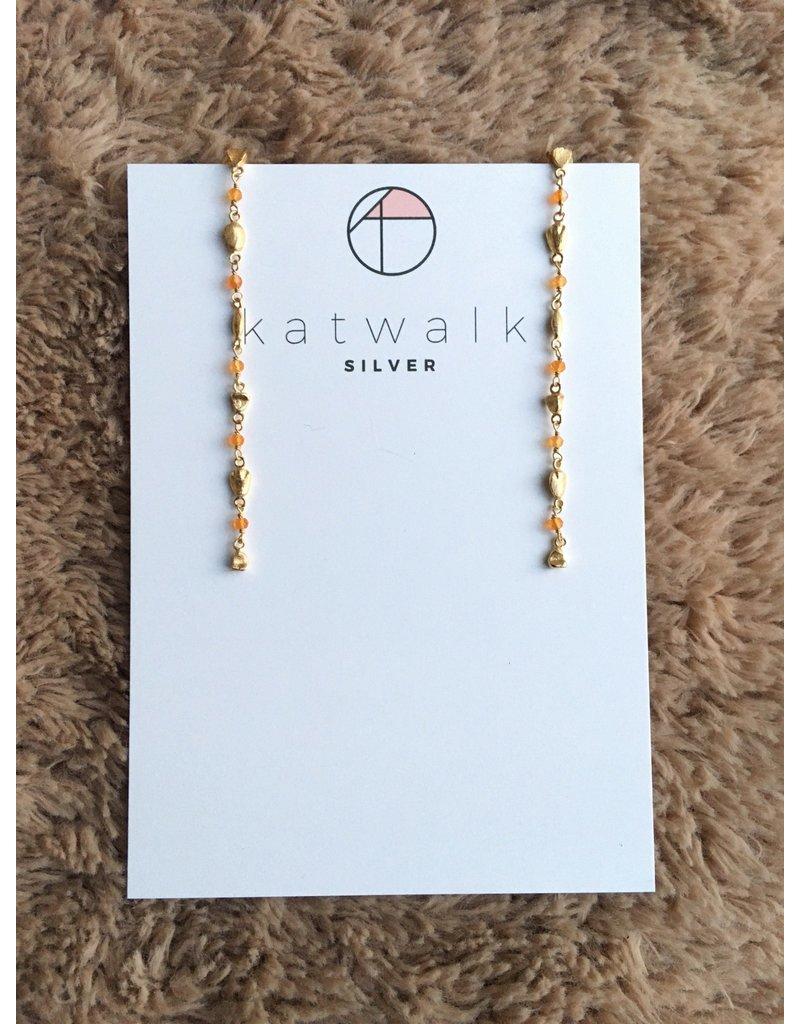 Katwalk Zilver Verguld zilver oorsteker - ketting  8,5 cm met oranje steentjes