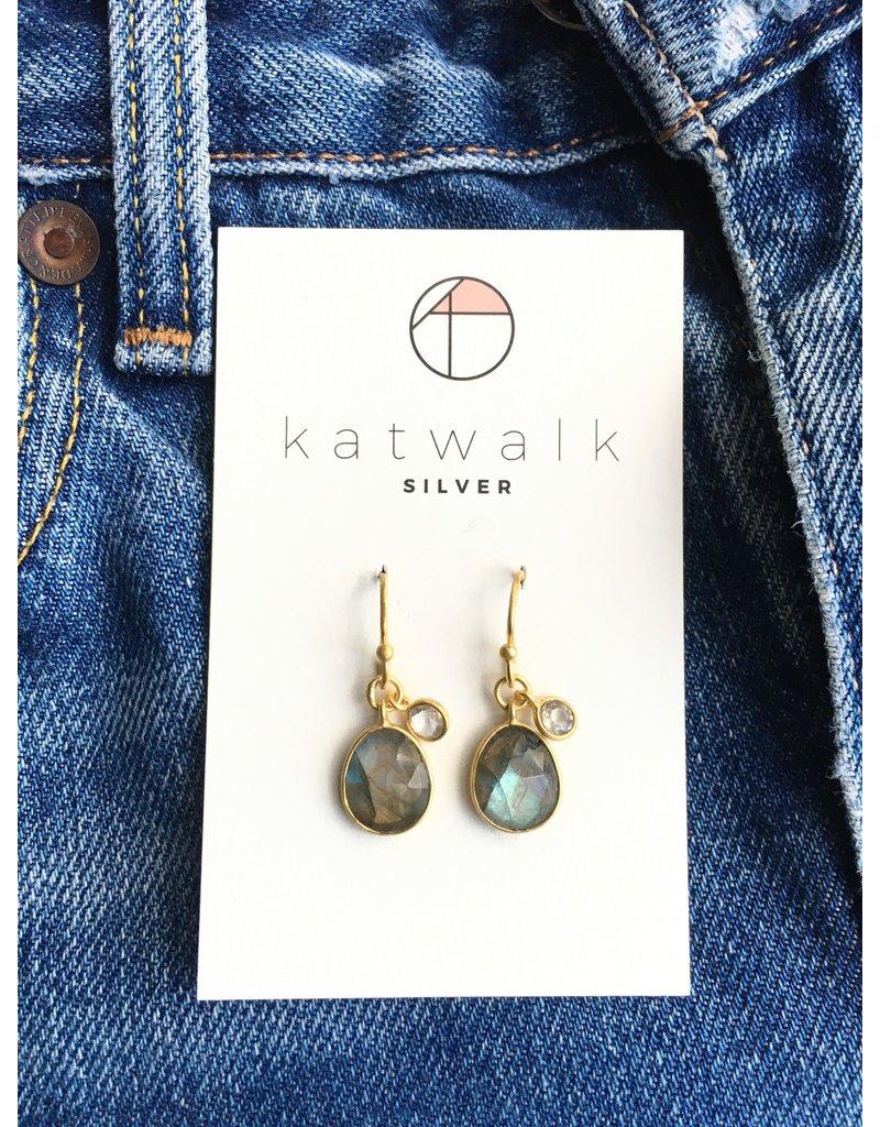 Katwalk Zilver Verguld zilver oorhanger met blauwgroene en transp. steen