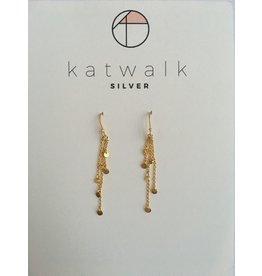 Katwalk Zilver Verguld zilver oorhanger met 4 ketting