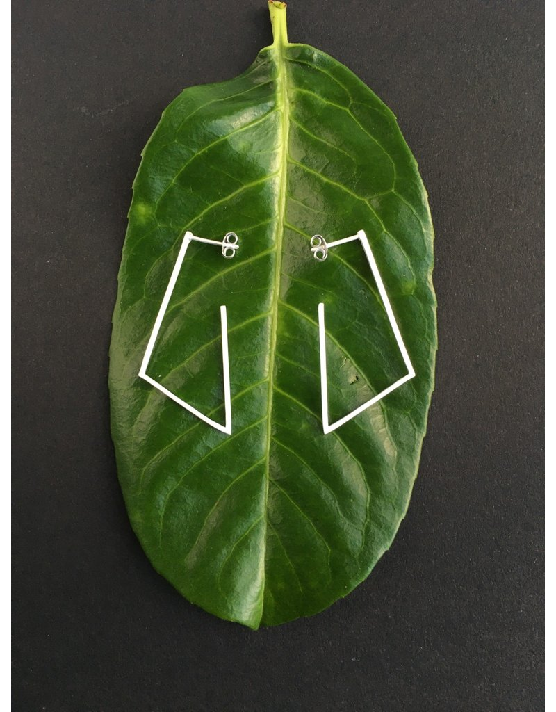Katwalk Zilver Zilver oorsteker - open driehoek