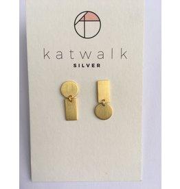Katwalk Zilver Verguld zilver oorsteker -asymm. rondje met rechthoek