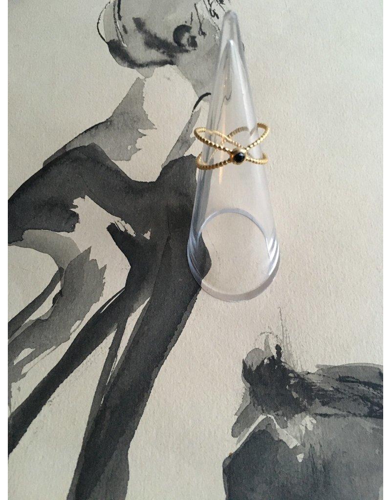 Katwalk Zilver Verguld zilveren ring 'X' met zwart steentje
