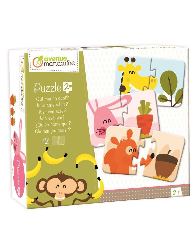 Avenue Mandarine 2-pieces puzzles - Wie eet wat? - vanaf 2j
