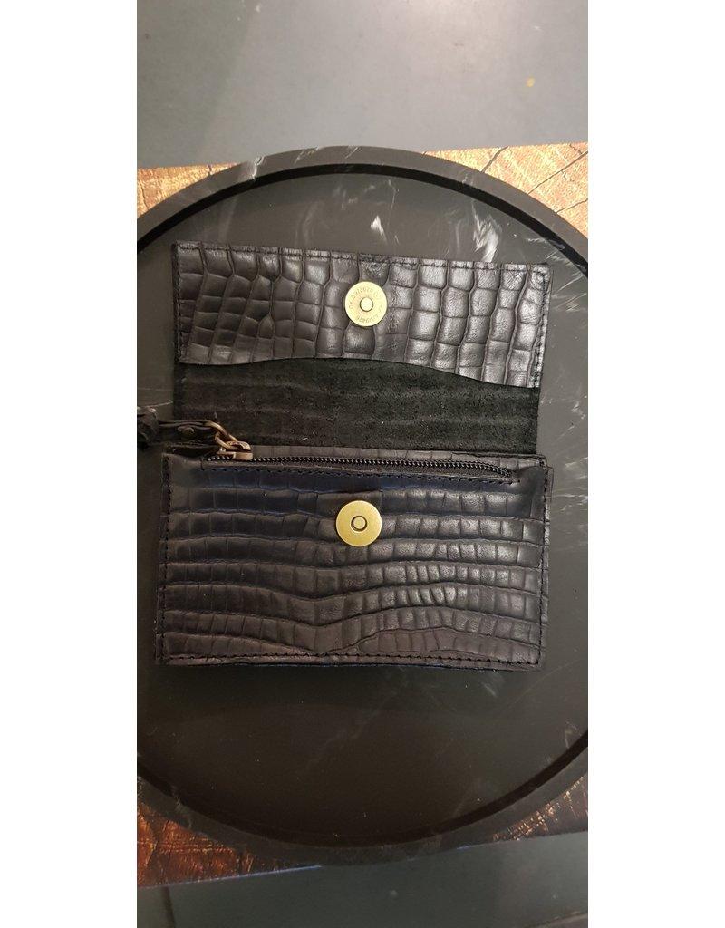 CAT & CO Ruime portefeuille met magneetsluiting - Croco Negro