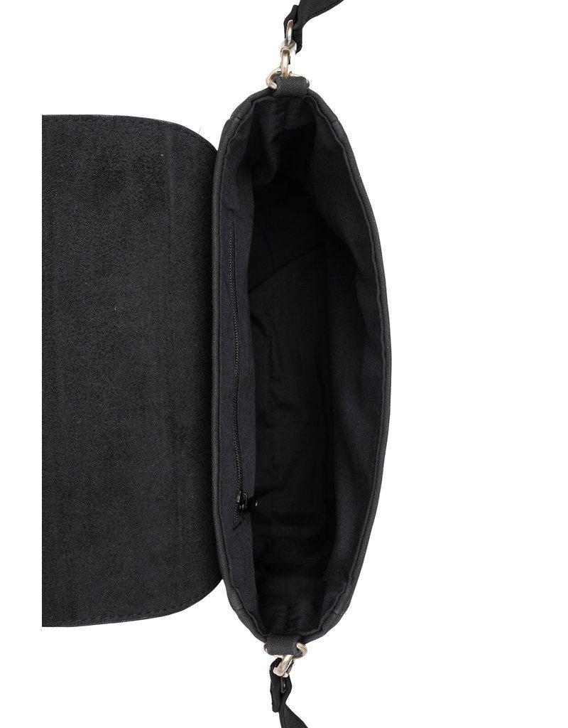 Zusss Trendy schoudertas met gesp mat zwart