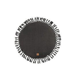 Zusss Rond kussen met kwastjes - grafietgrijs - 45 cm