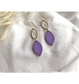 Woood Jewels Oorhangers goudverguld met hout - Lilac 05