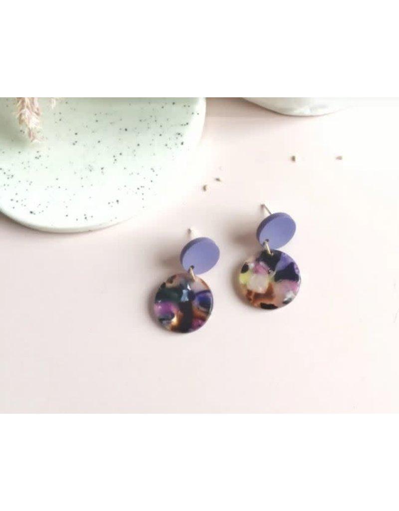 Woood Jewels Oorstekers hout - resin - Lilac 16