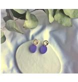 Woood Jewels Oorstekers - goudverguld + hout - Lilac 23