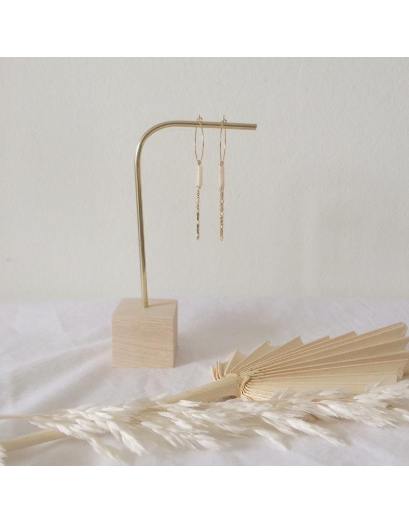 Woood Jewels Juweeltjes-staander hout + messing S - 15cm