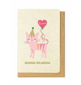 Enfant Terrible Wenskaart Enfant Terrible - Gelukkige verjaardag - roze kat
