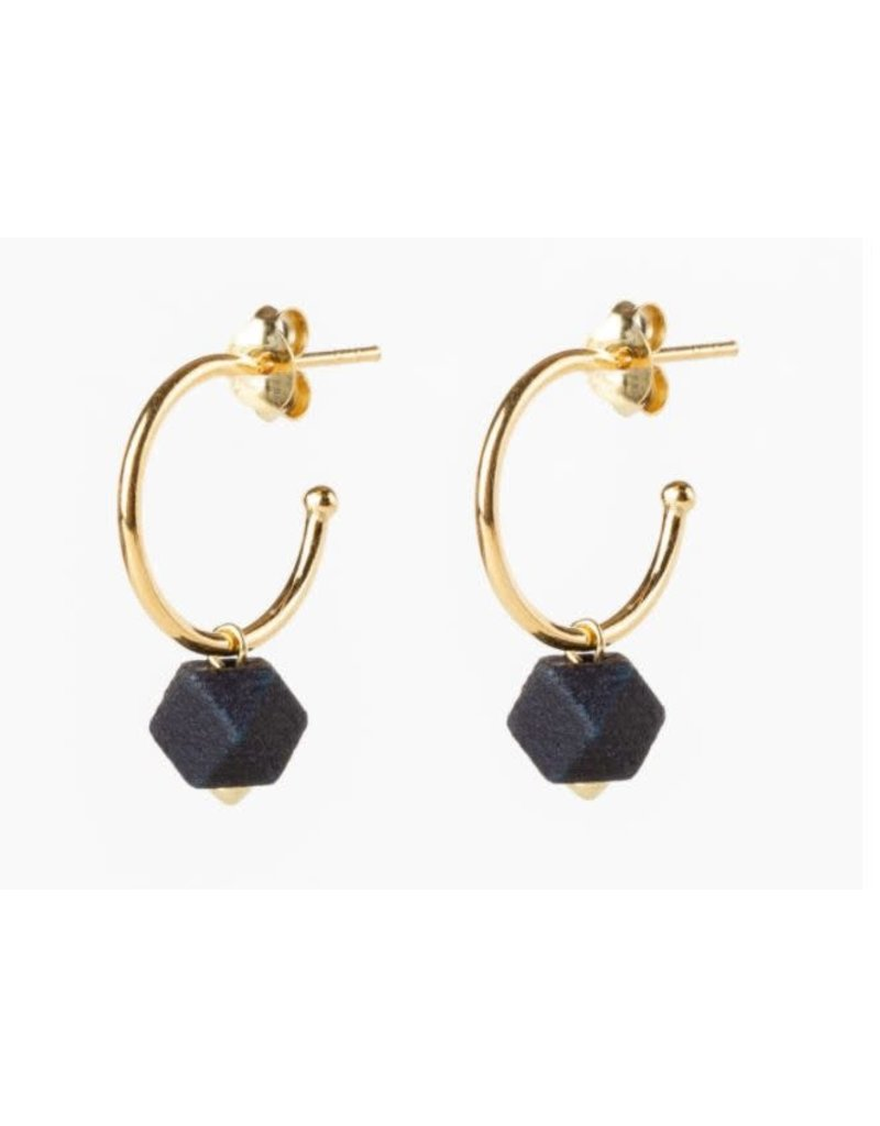 Jacqueline & Compote Oorstekers - Facet small hoops - Blauw