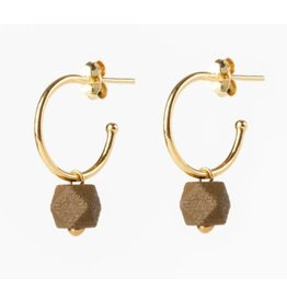 Jacqueline & Compote Oorstekers - Facet small hoops - Mustard