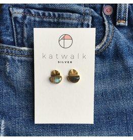 Katwalk Zilver Verguld zilver oorsteker - half moon steen mosgroen