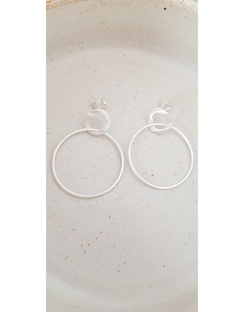 Katwalk Zilver Zilver oorstekers - 2 zilver ringen