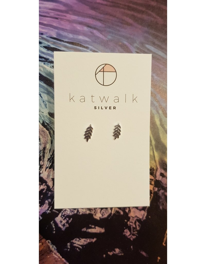 Katwalk Zilver Zilver oorstekers - blad Es