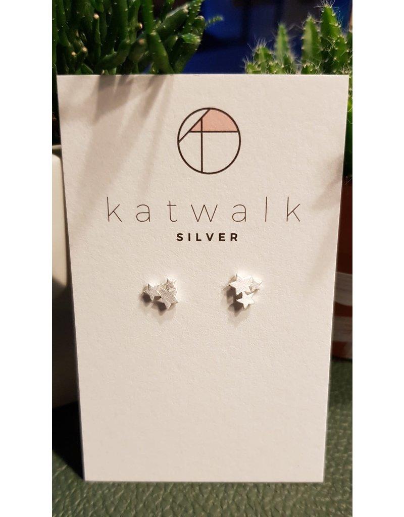 Katwalk Zilver Zilver oorstekers - trio van sterretjes