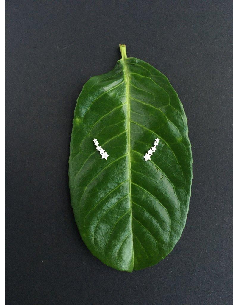 Katwalk Zilver Zilver oorstekers - 5 sterretjes in rij