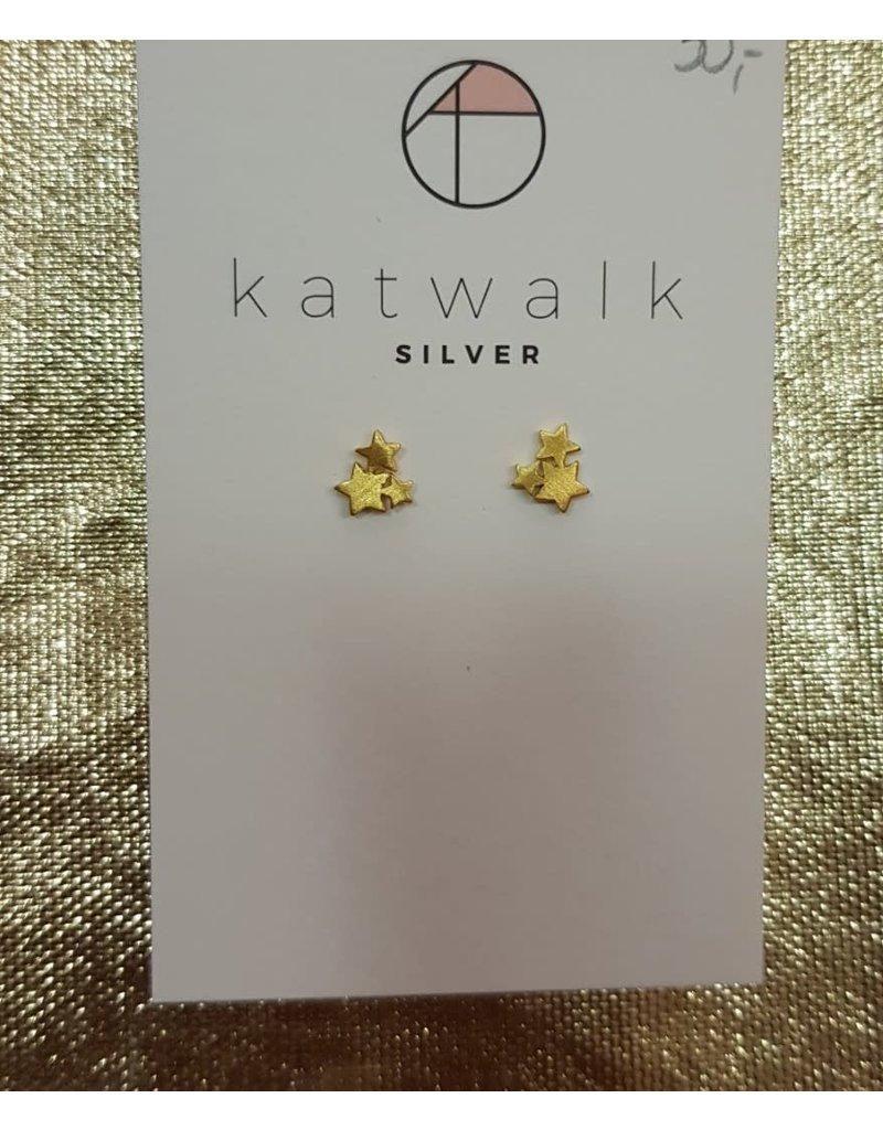 Katwalk Zilver Verguld zilver oorstekers - trio van sterretjes