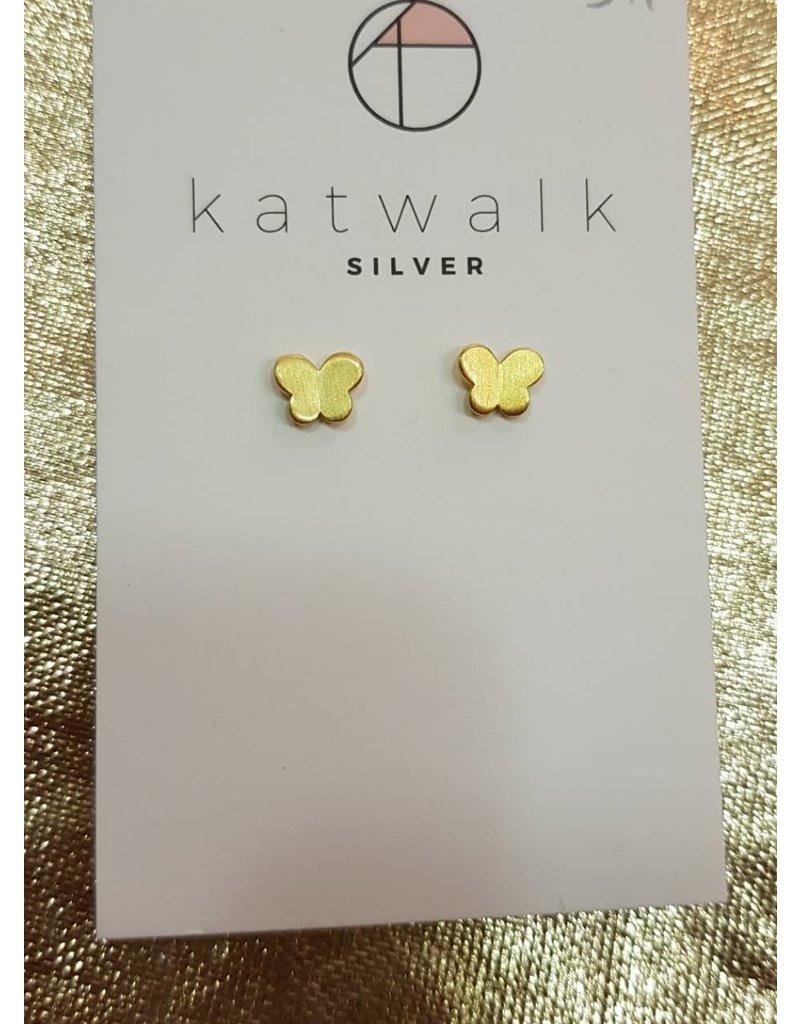 Katwalk Zilver Verguld zilver oorsteker Vlindertjes (2 st)