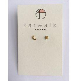 Katwalk Zilver Verguld zilver oorstekers - sterretje + maantje