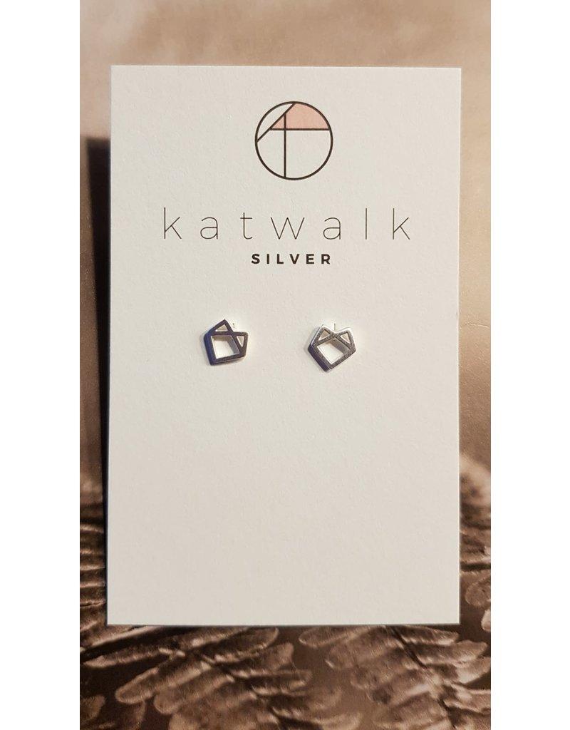 Katwalk Zilver Zilver oorstekers - hoekig hartje