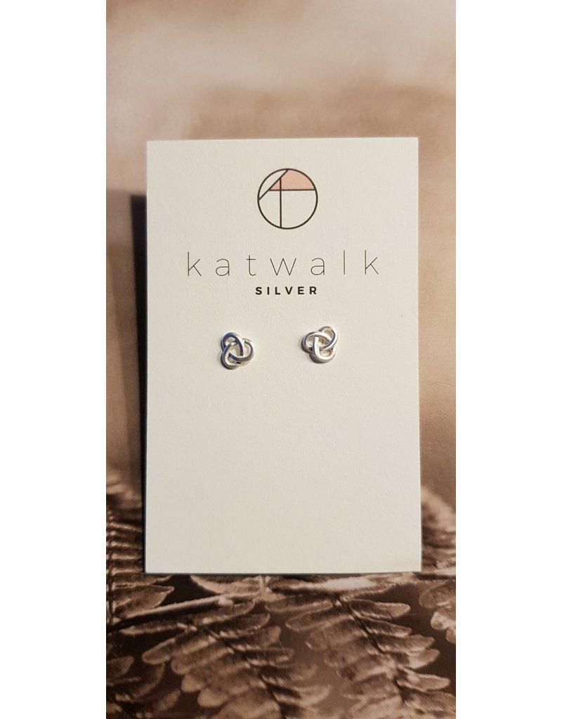 Katwalk Zilver Zilver oorstekers - knoop
