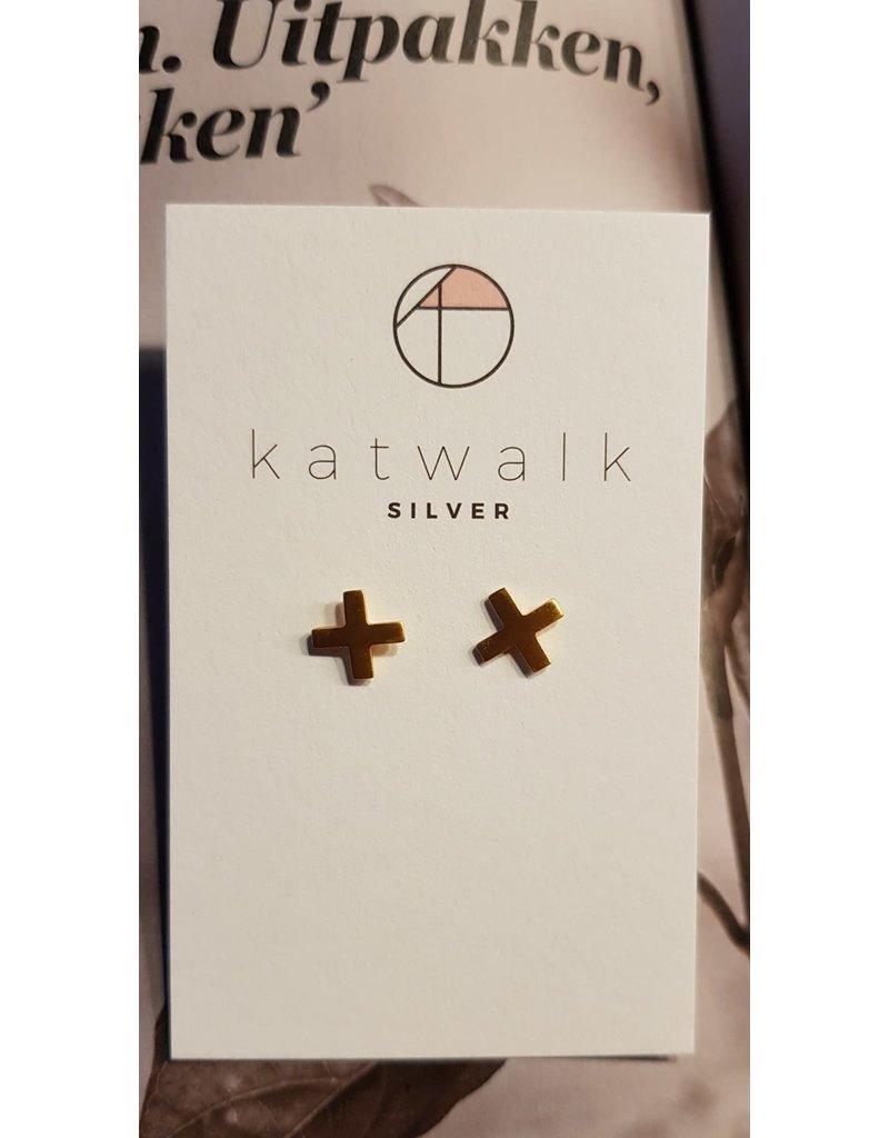 Katwalk Zilver Verguld zilver oorstekers - cross