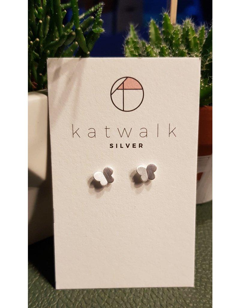 Katwalk Zilver Zilver oorstekers - duo van vlinders