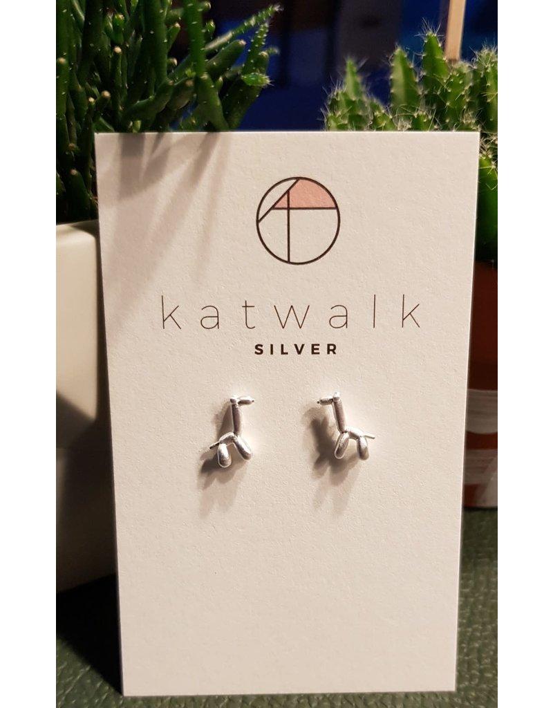 Katwalk Zilver Zilver oorstekers - ballon-giraf