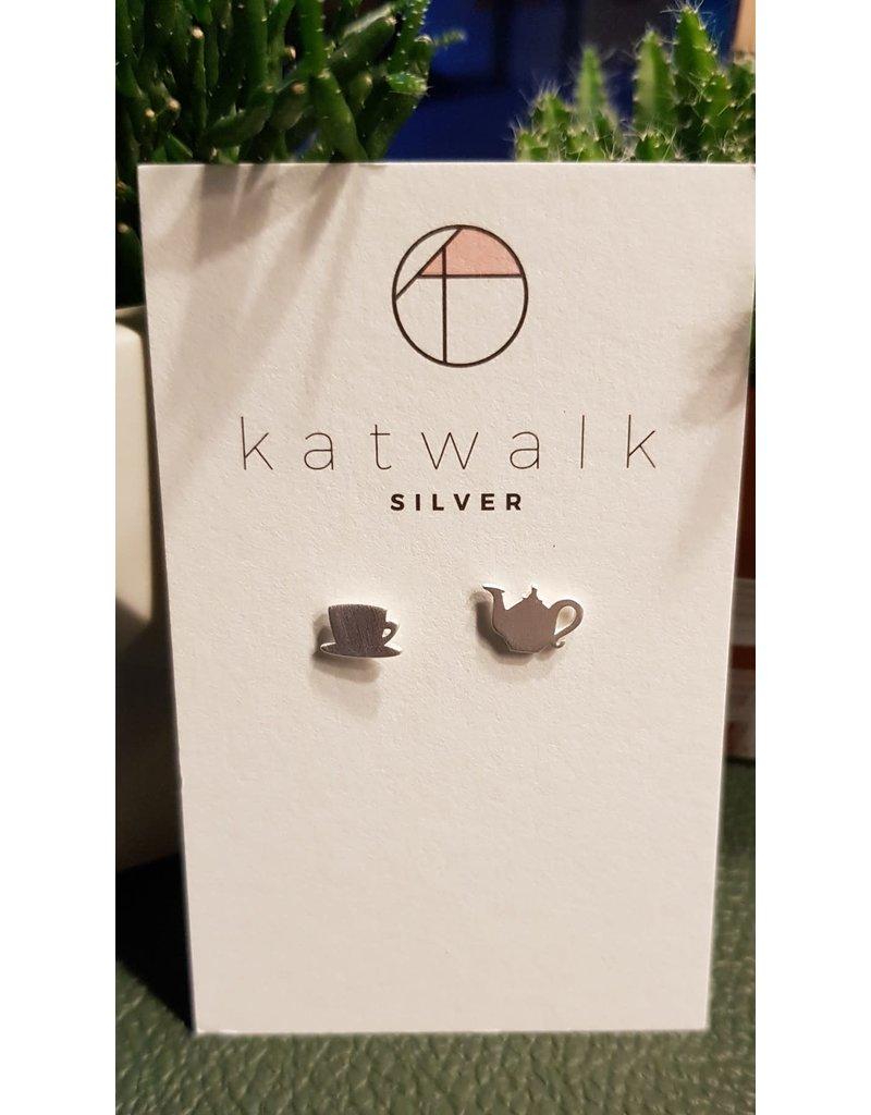 Katwalk Zilver Zilver oorstekers - theepot met kopje